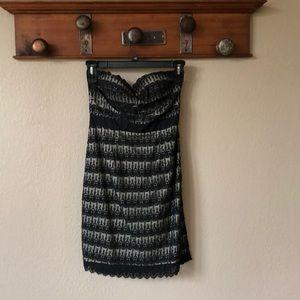 Black lace strapless dress